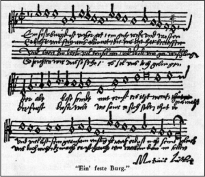 "Handwritten copy of ""Ein feste Burg"" with Luther's signature."